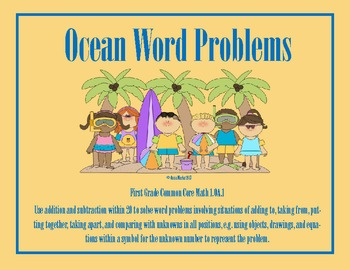 Ocean Word Problems Common Core Math 1.OA.1