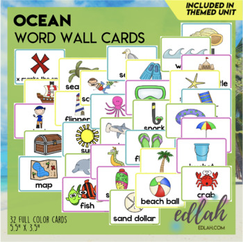 ocean vocabulary word wall cards set of 21