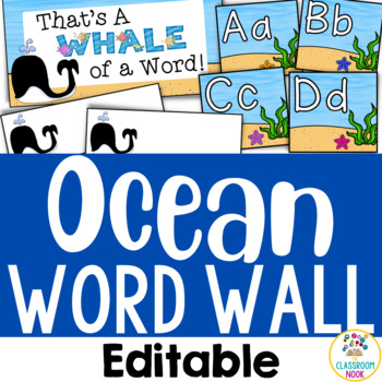 Ocean Theme: Word Wall (Editable)