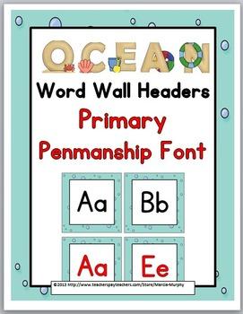 Ocean Theme Alphabet Word Wall Headers  - Alphabet Cards -