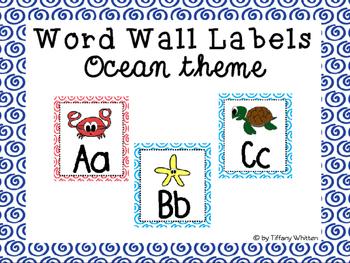 Ocean Word Wall Labels