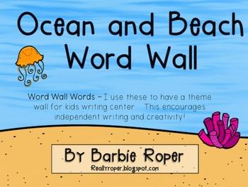 Ocean Word Wall Words