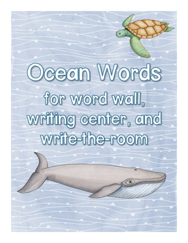 Ocean Words for writing center and write-the-room