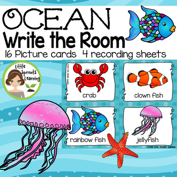 Ocean Write the Room -16 cards four versions, four recording sheets