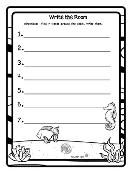 Ocean Write the Room FREEBIE!