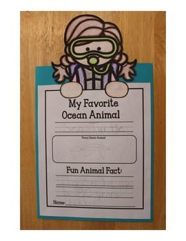 Ocean Writing Craftivity-My Favorite Ocean Animal-Freebie