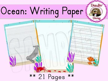 Ocean: Writing Paper (Blank, Lined, Primary Lined)
