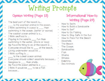 Ocean and Beach Napkin Book Writing Prompts