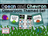 Ocean and Chevron Themed Classroom Set with Editables with ABC and Number Line