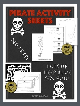 Ocean and Pirate Activity Bundle. Set of 25 Printables.