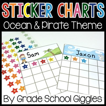 Ocean and Pirate Theme Sticker Charts