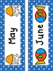 Ocean and Polka Dot Themed Calendar Set (Including Days of the Week Cards)