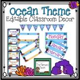 Editable Ocean Themed Classroom Decorations