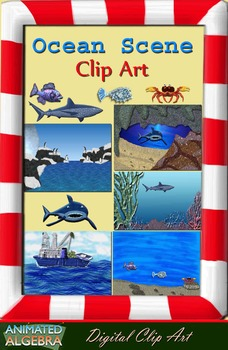 Ocean and Sea Clip Art Set with Backgrounds, Sea Life and Borders