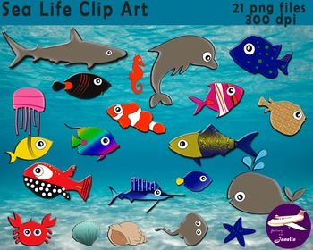 Ocean and Sea Life Clip Art. 21 Png files 300 dpi for Classroom & Commercial Use