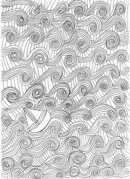 Ocean and Seaside Patterns (Boat): Colouring Page