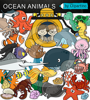 Ocean animals clipart NEW
