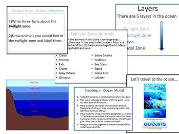 Ocean - layers and ocean life: PowerPoint, worksheets, art, books, movie.