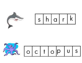 Ocean letter tile cards
