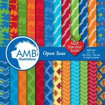 Digital Papers, Ocean life digital paper and backgrounds, AMB-404