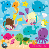 Ocean snorkelling clipart commercial use, graphics, digital clip art - CL872