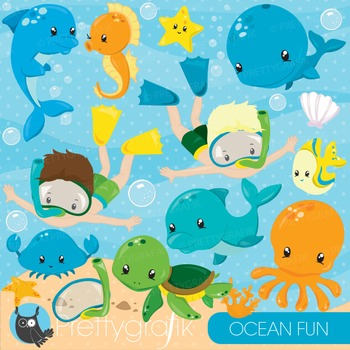 Ocean snorkelling clipart commercial use, graphics, digital clip art - CL873