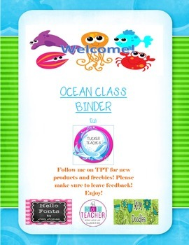 Ocean take home binder cover