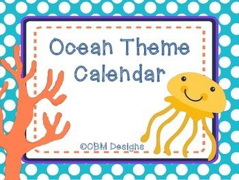 Ocean theme Calendar Pack