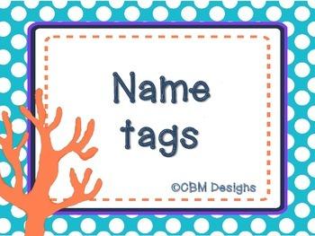 Ocean theme Name tags