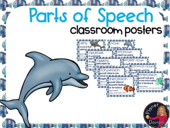 Ocean theme parts of speech wall posters Grammar