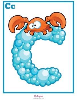 Ocean themed Alphabet Posters Instant Download PDF; Preschool, Kindergarten