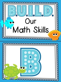 Ocean themed B.U.I.L.D. Math Centers Organization & Rotation Set-Up Pack