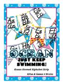 Ocean themed D'Nealian print and cursive Alphabet banner
