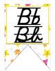 Ocean themed D'Nealian manuscript and cursive Alphabet banner
