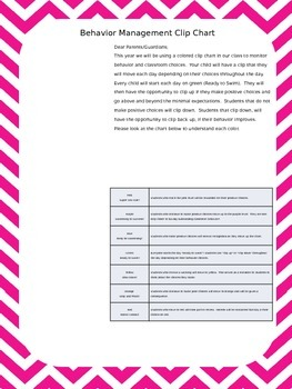 Ocean Themed Clip Chart- Editable parent letter Only