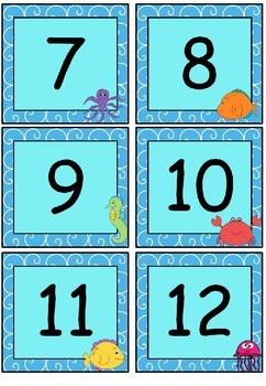 Ocean themed calendar set (with editable boxes)