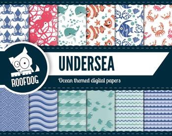 Ocean themed digital papers underwater patterns