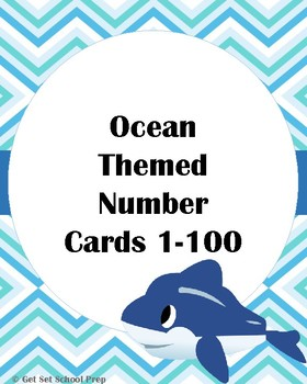 Ocean themed number cards