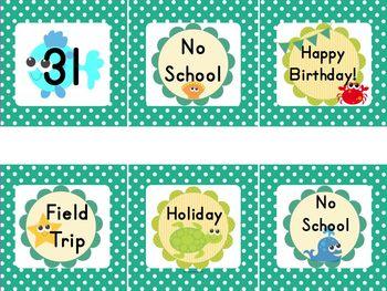 Ocean/Beach Theme Calendar Classroom Fun Pack (Editable)