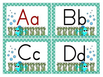 Ocean/Beach Theme Word Wall Letters and Alphabet Line Posters (Editable)