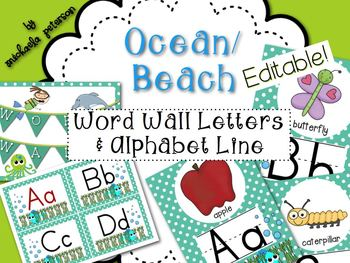 Ocean/Beach Theme Word Wall Letters and Alphabet Line Post
