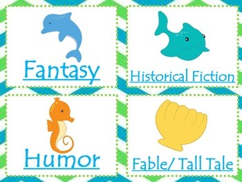 Beach Themed Class Bundle {library labels; lunch, signals, home, & line charts}