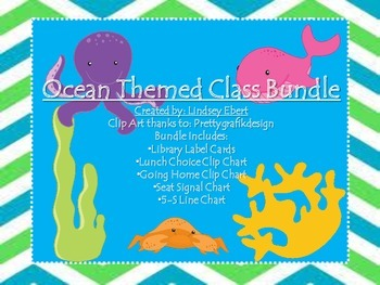 Beach Themed Class Bundle {library labels; lunch, signals,