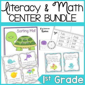 Ocean Themed Reading and Math Centers for K-2