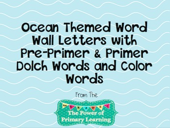 Ocean/Sea Themed Word Wall (Letters and Words)