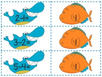 Ocean/Shark Subtraction math centers