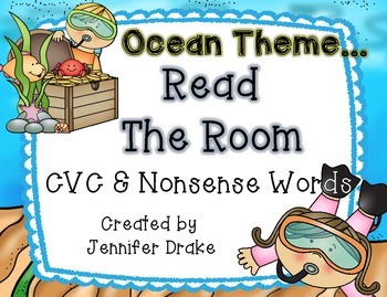 Ocean/Summer Theme 'Read the Room' for CVC and Nonsense Words!