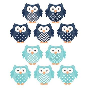 Oceana Vector Owls & Papers - Baby Owl Clipart, Owl Clip Art, Baby Owls