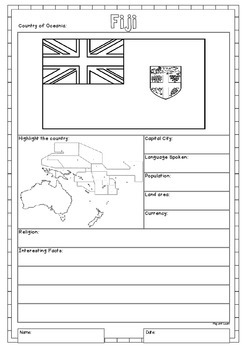 Oceania 14 Countries Study - worksheets with maps and flags for each country