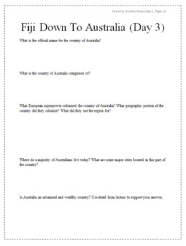 Oceania & Antarctica Guided Notes Packet